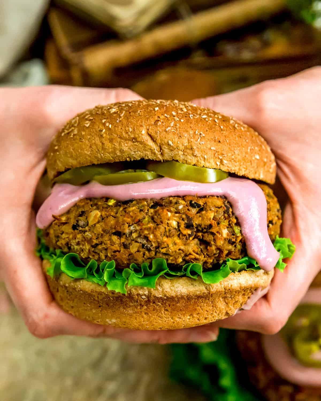 Eating a Vegan Jalapeño Popper Burger