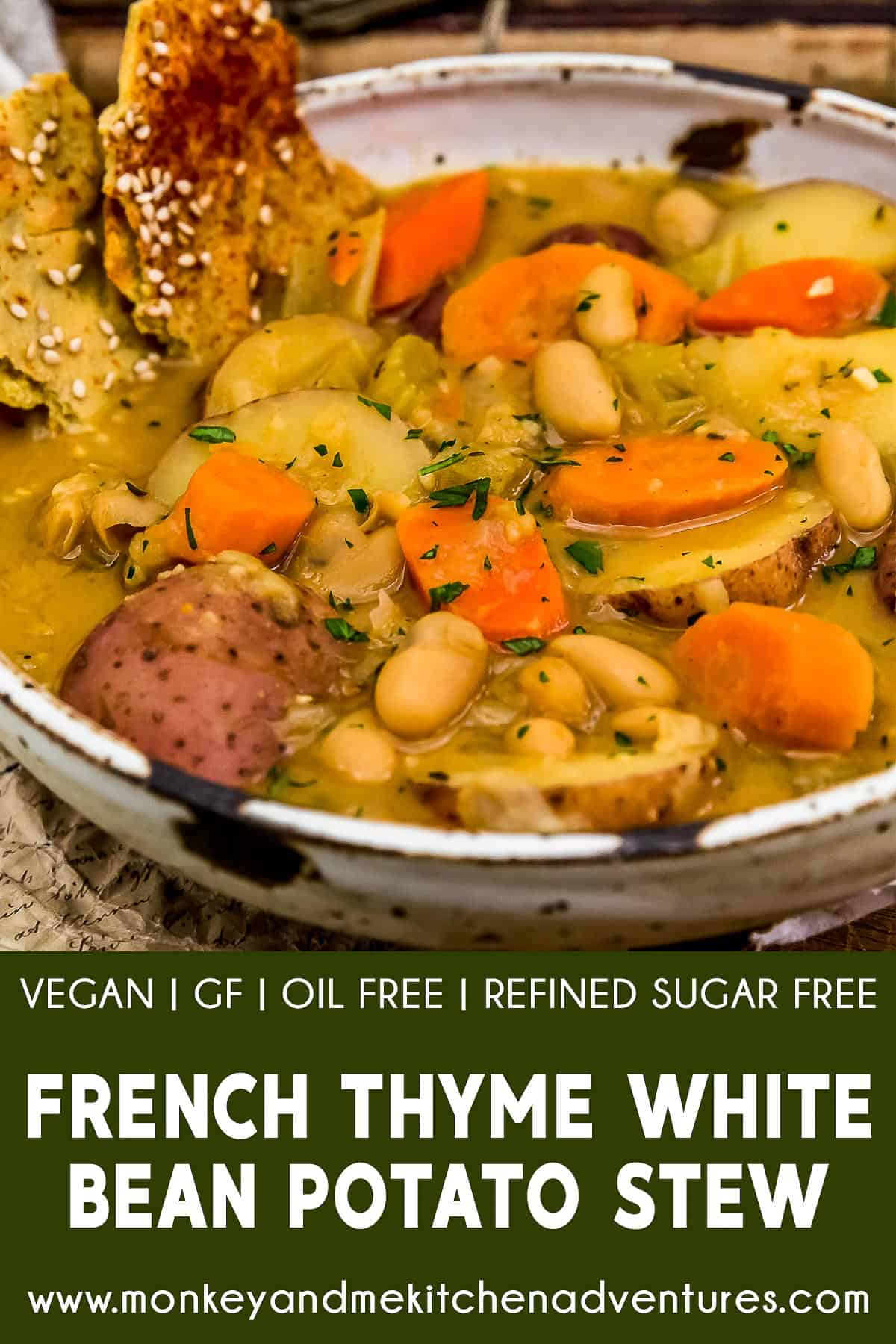 French Thyme White Bean Potato Stew with text description
