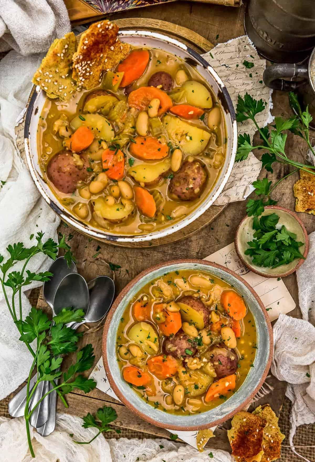 Tablescape of French Thyme White Bean Potato Stew