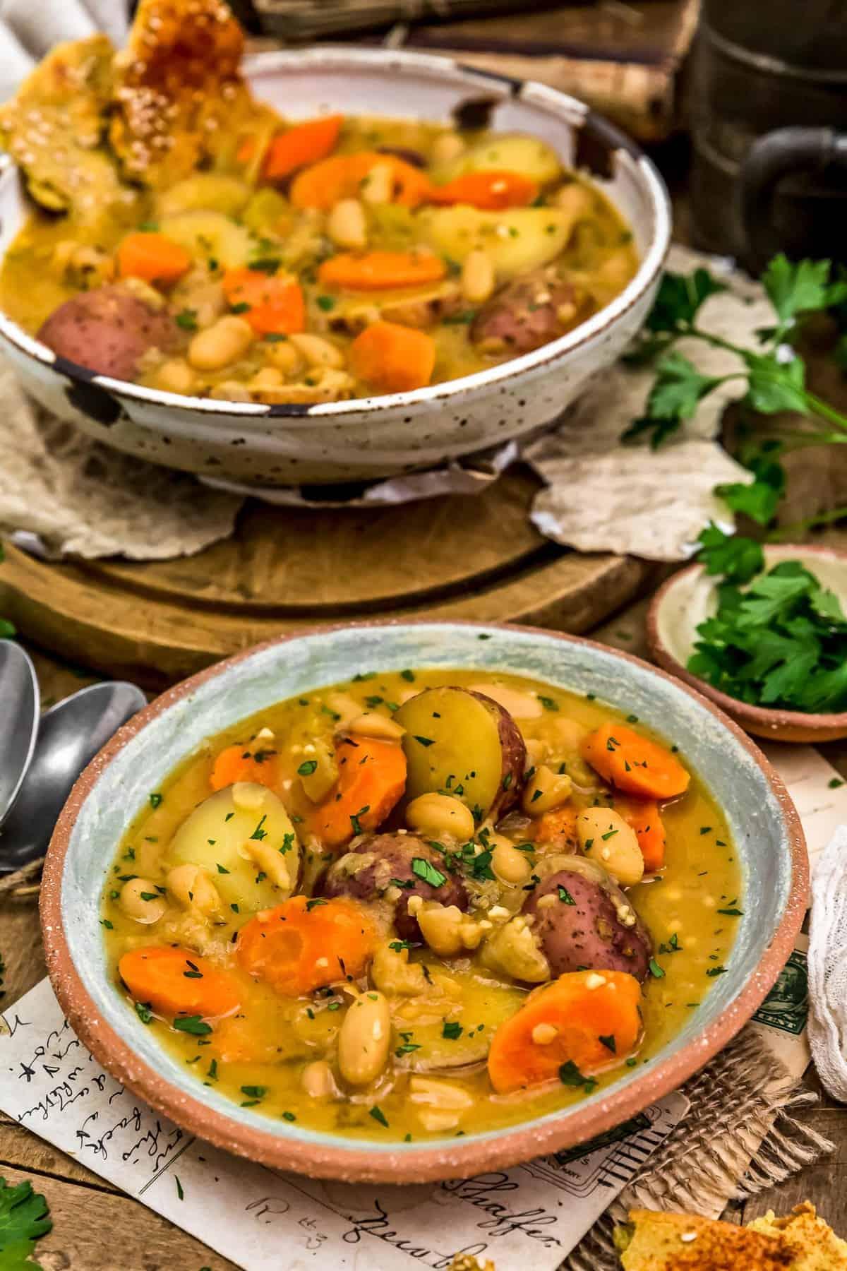 Served French Thyme White Bean Potato Stew