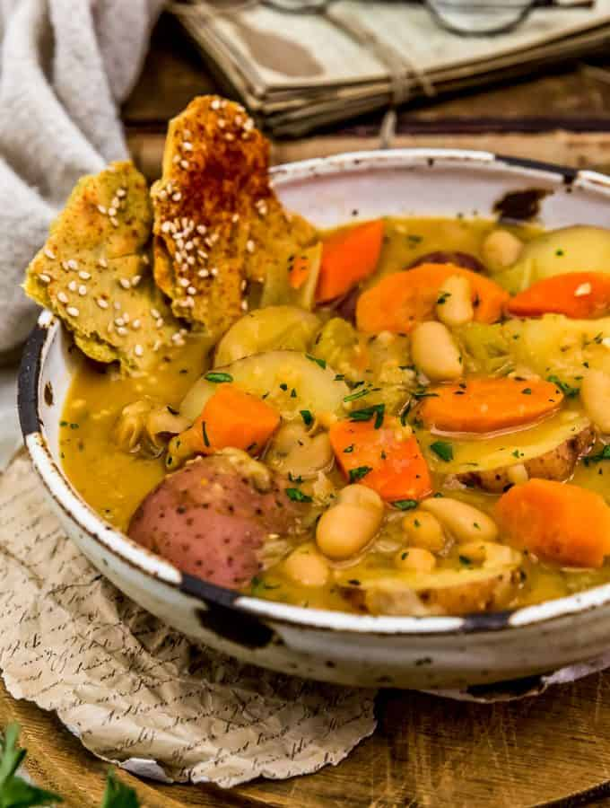 Close up of French Thyme White Bean Potato Stew