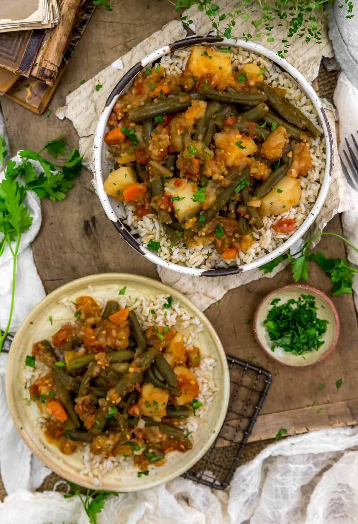 Tablescape of Lebanese Stewed Green Beans and Potatoes