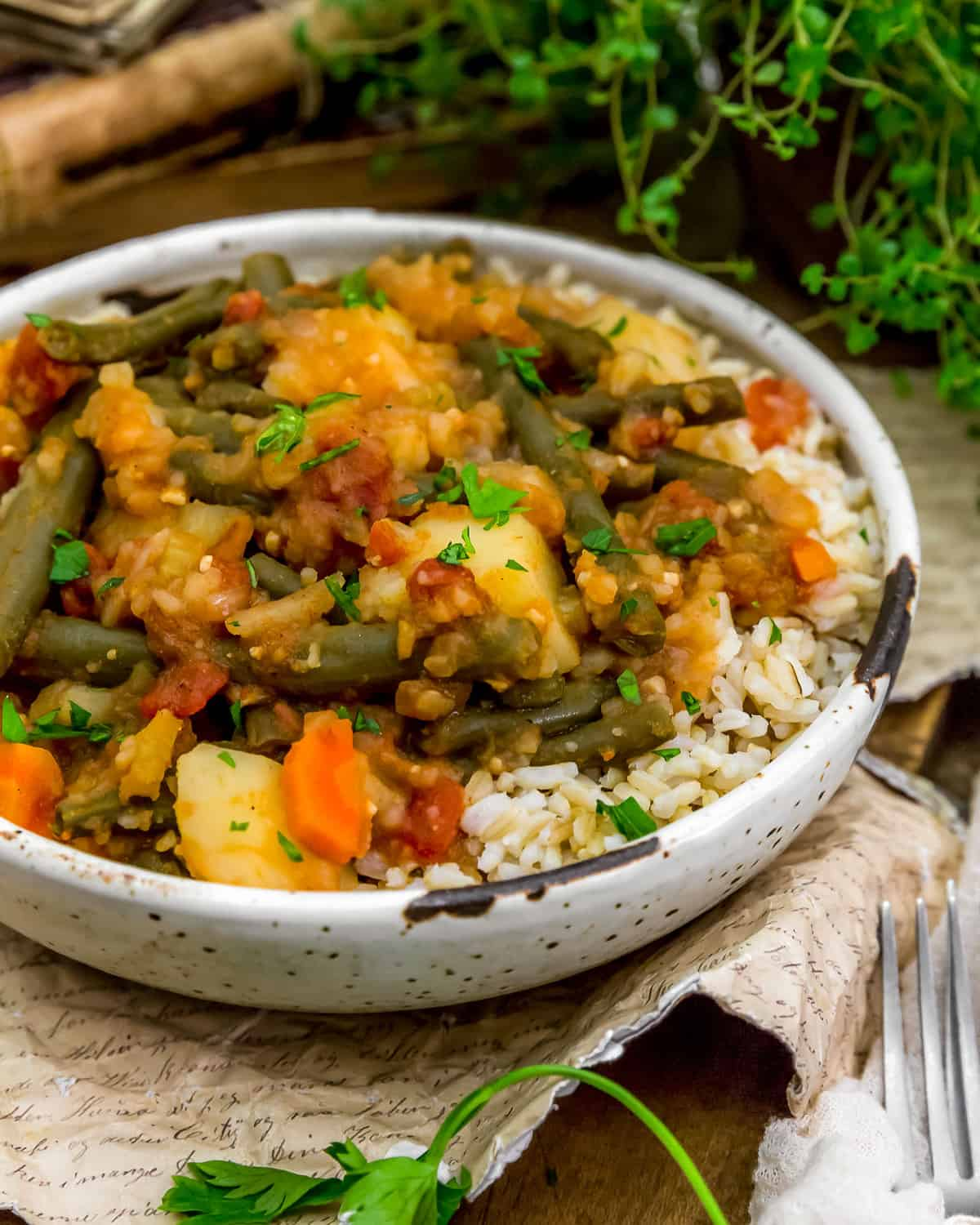 Bowl of Lebanese Stewed Green Beans and Potatoes