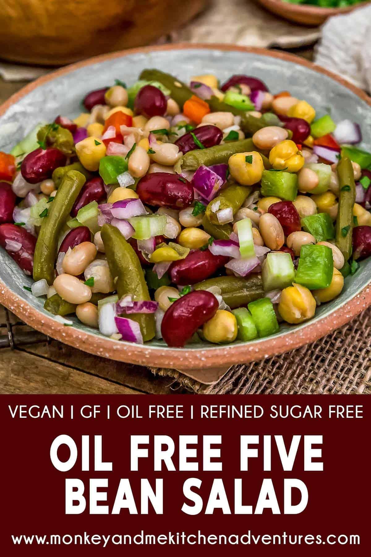 Oil Free Five Bean Salad with text description