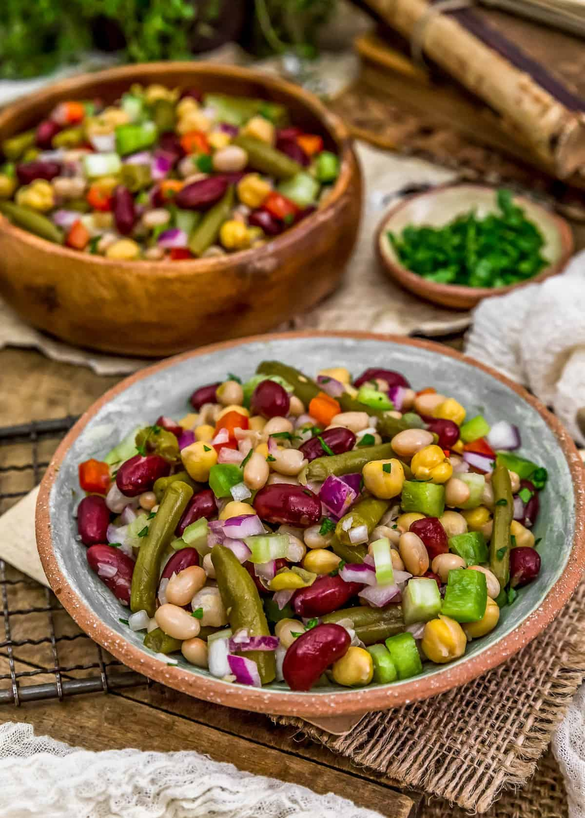 Plated Oil Free Five Bean Salad