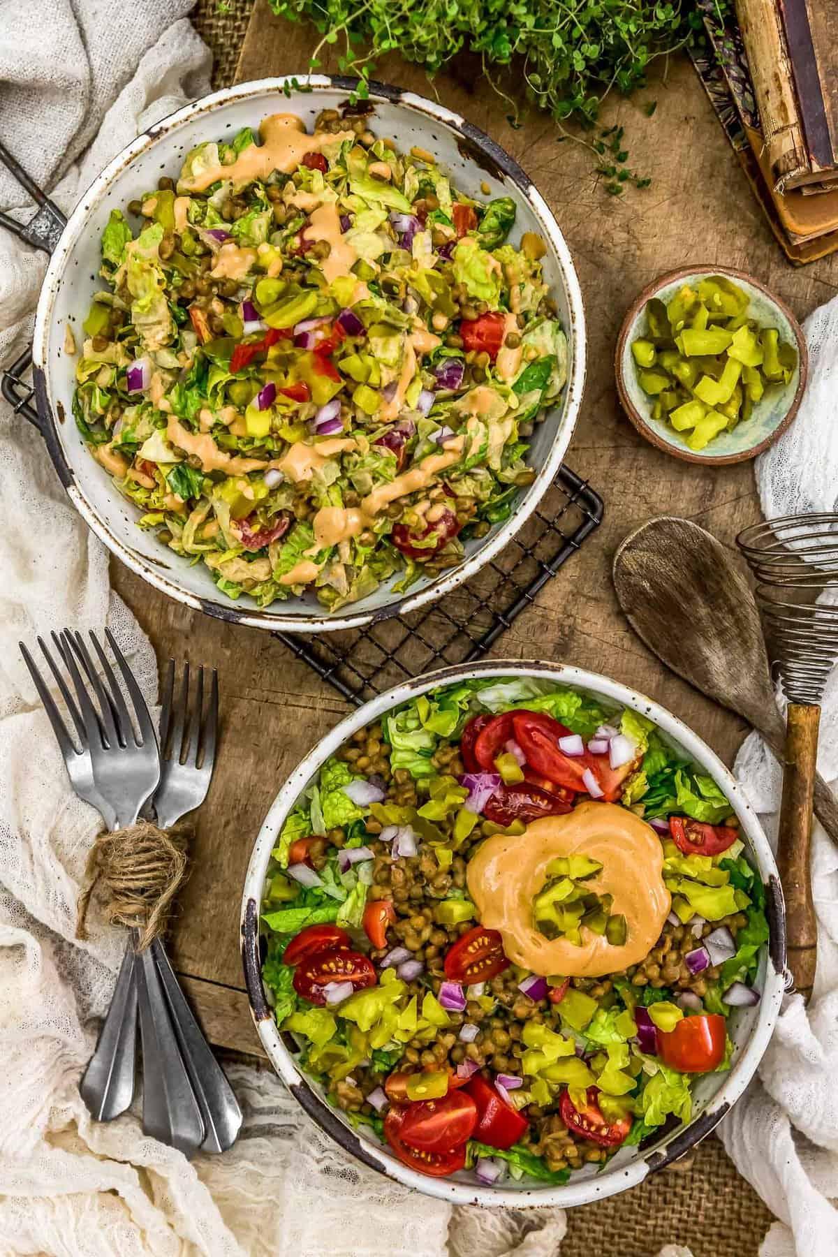 Tablescape of Vegan Big Mac Salad