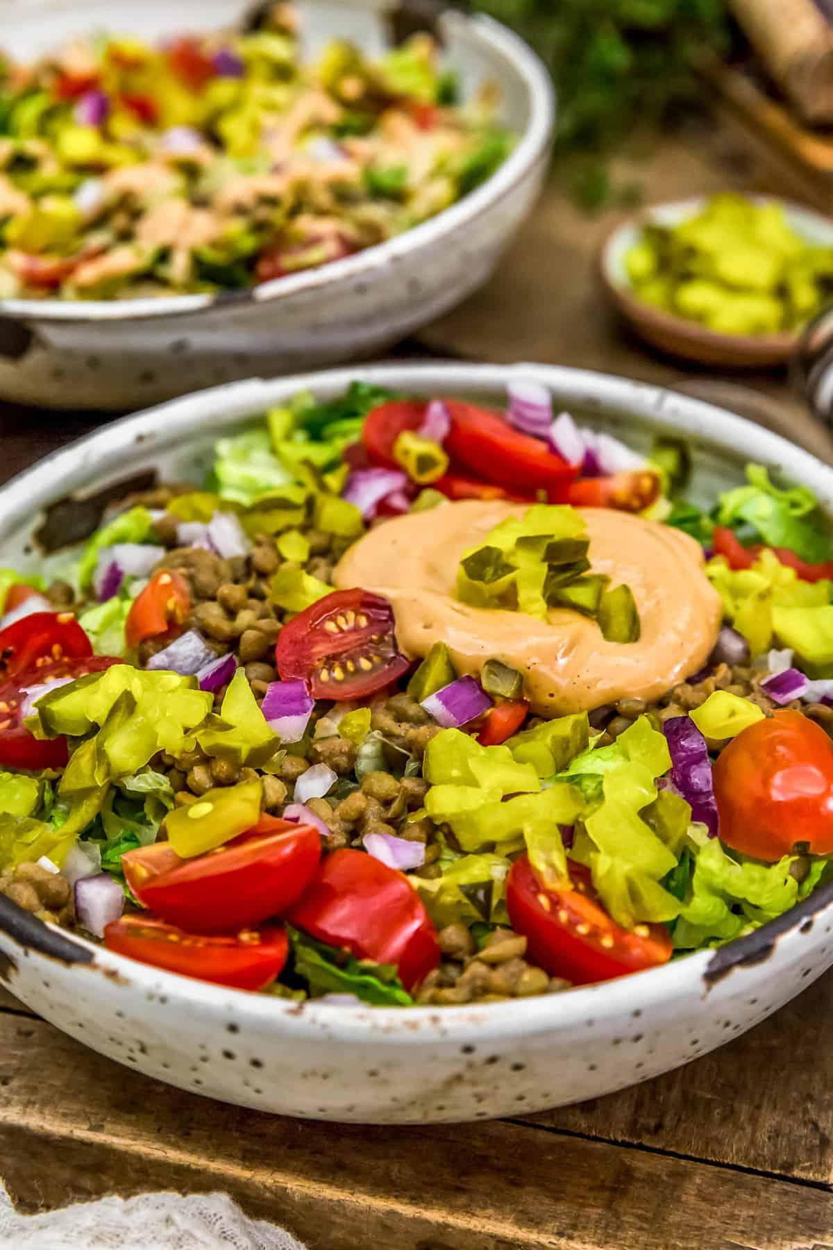 Close up of Vegan Big Mac Salad