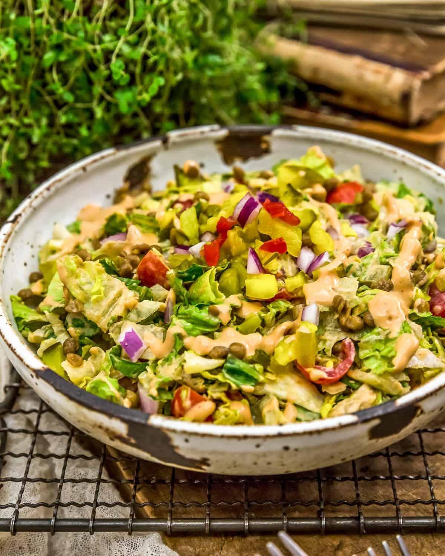A bowl of Vegan Big Mac Salad