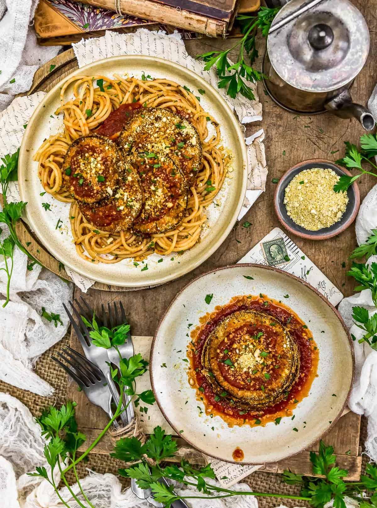 Tablescape of Vegan Eggplant Parmesan