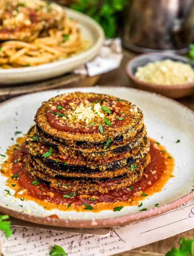 Stacked Vegan Eggplant Parmesan