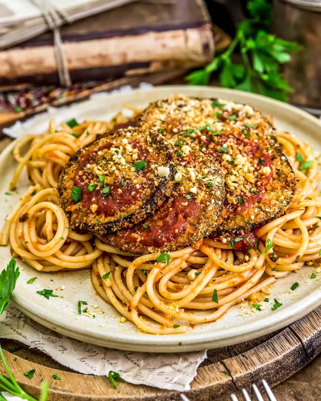 Vegan Eggplant Parmesan on Spaghetti