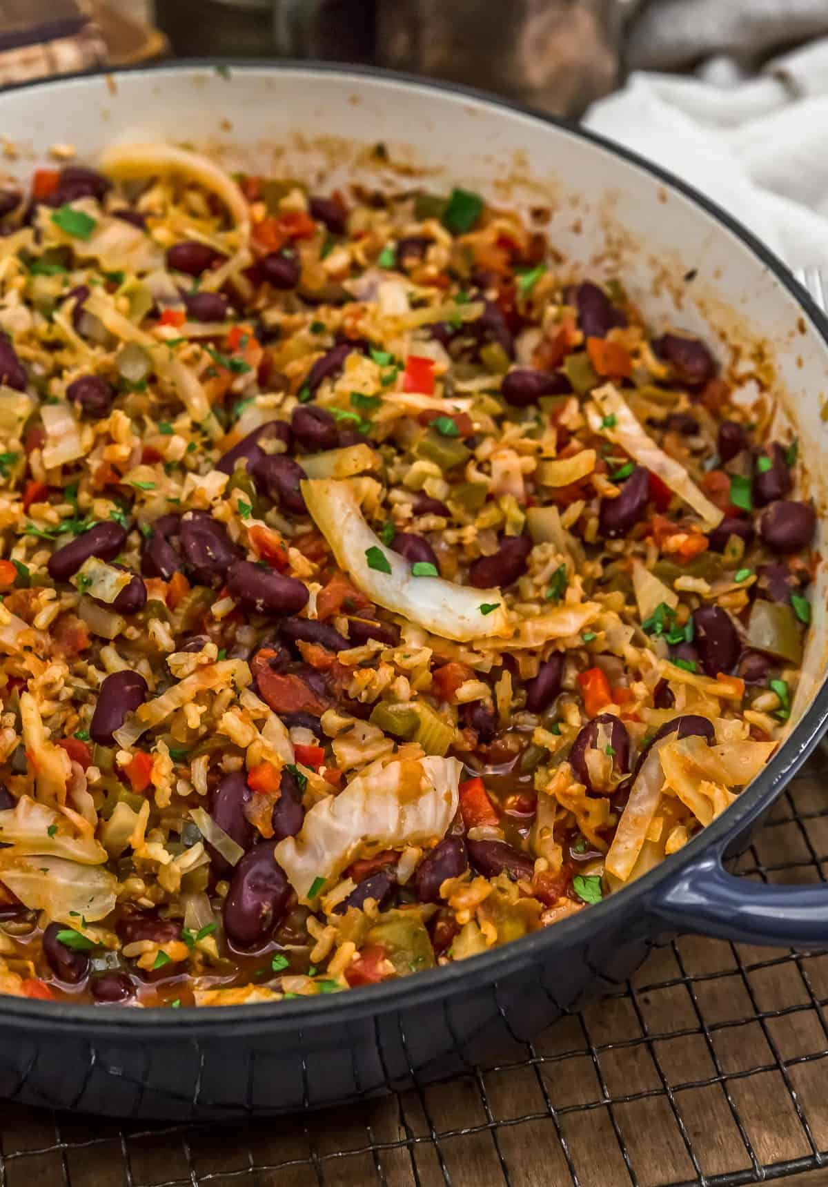 Close up of Cajun Cabbage and Rice Skillet