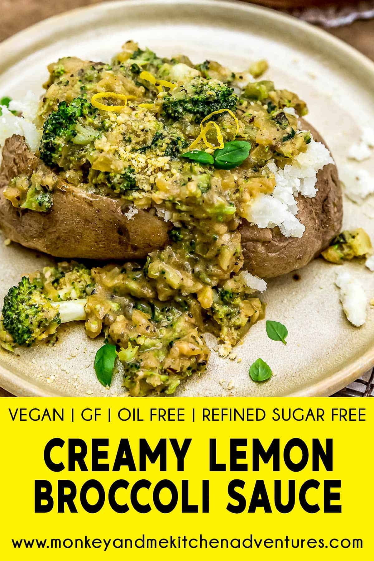 Creamy Lemon Broccoli Sauce with text description