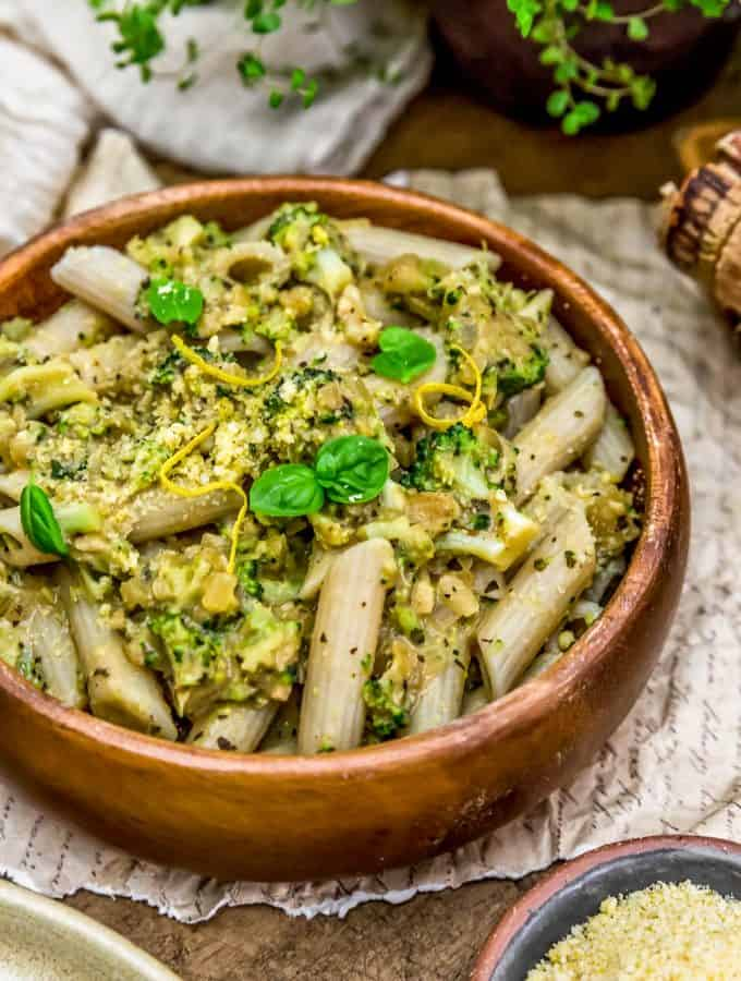 Bowl of Creamy Lemon Broccoli Sauce and Pasta