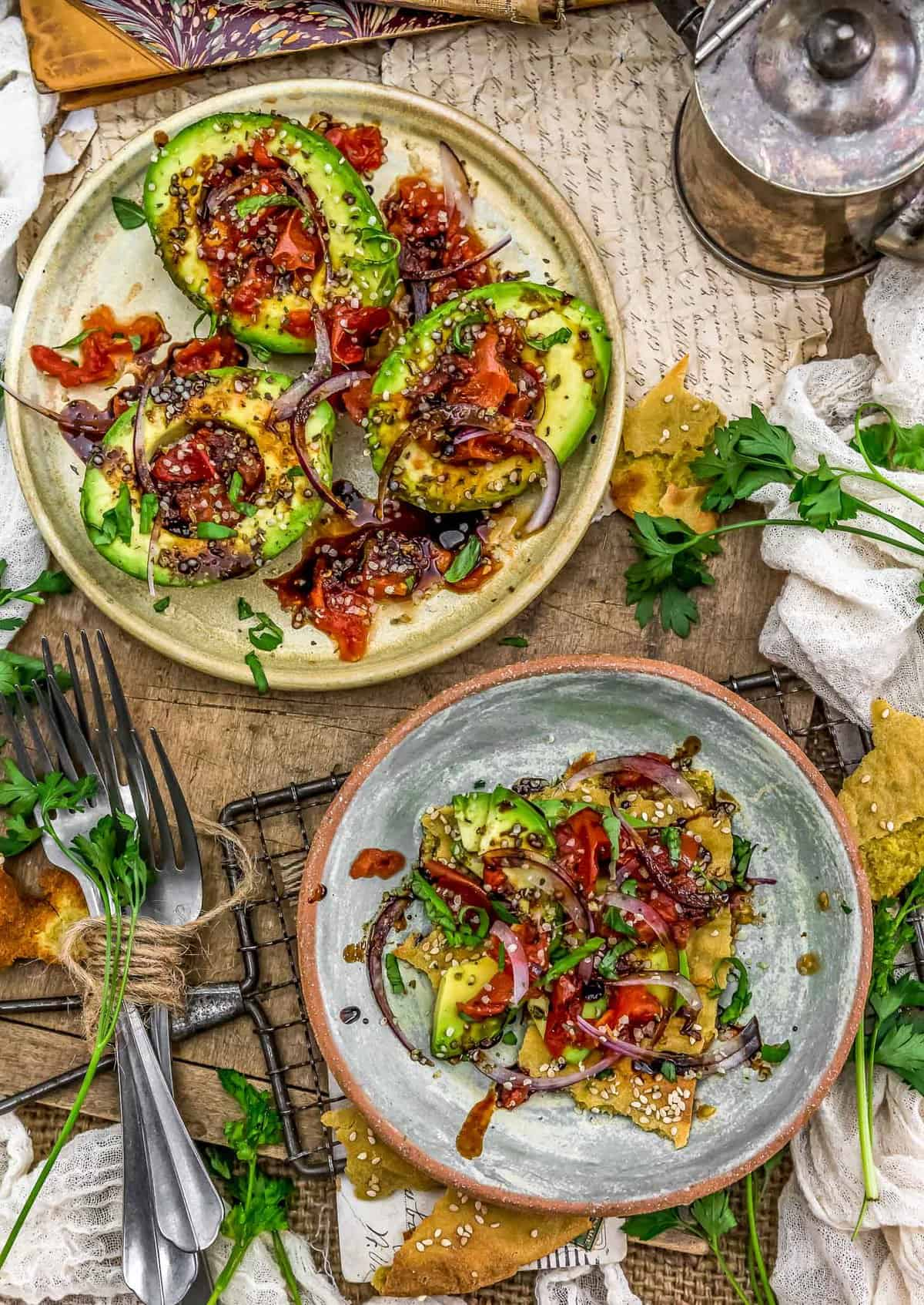 Tablescape of Roasted Tomato Stuffed Avocados with Balsamic Reduction
