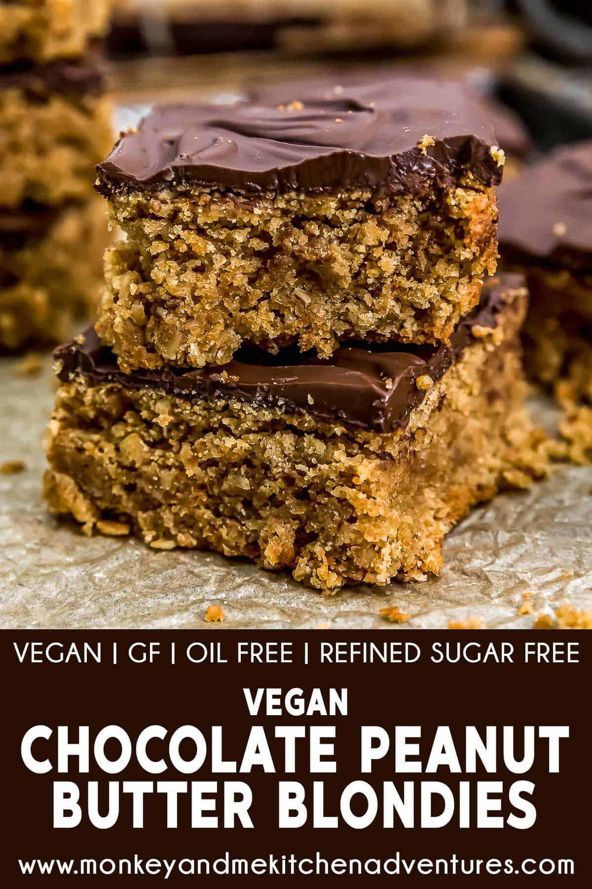 Vegan Chocolate Peanut Butter Blondies with text description