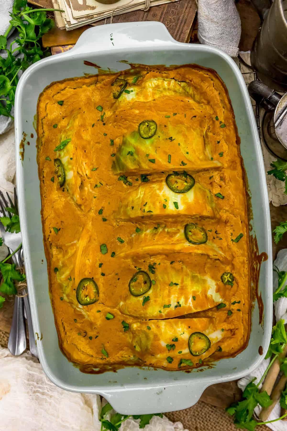 Vegan Southwestern Scalloped Cabbage in a casserole dish