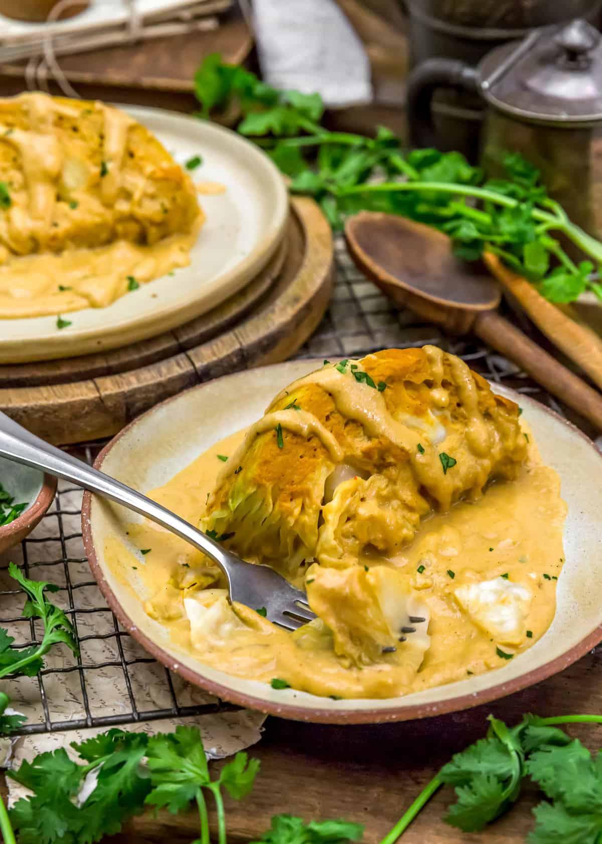 Plated Vegan Southwestern Scalloped Cabbage