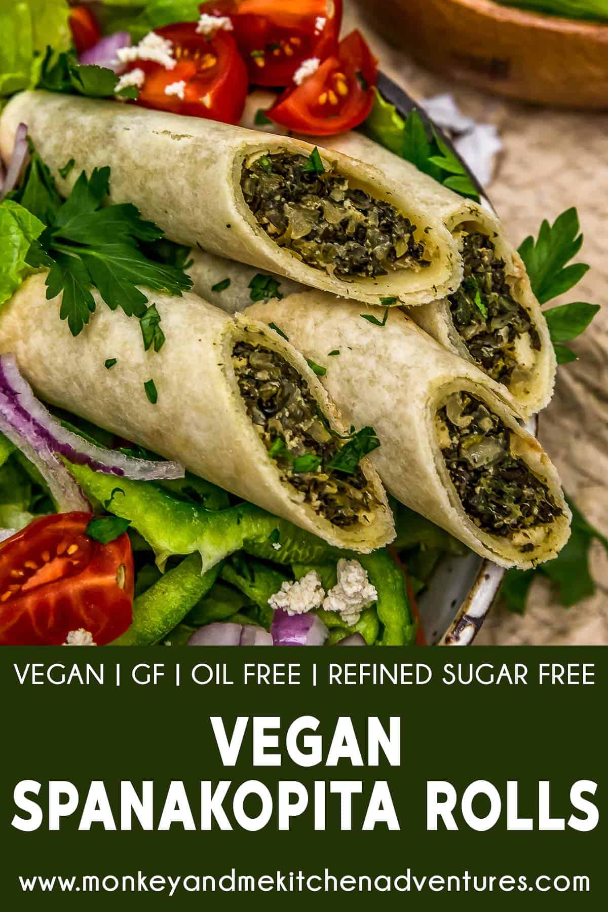 Vegan Spanakopita Rolls with text description