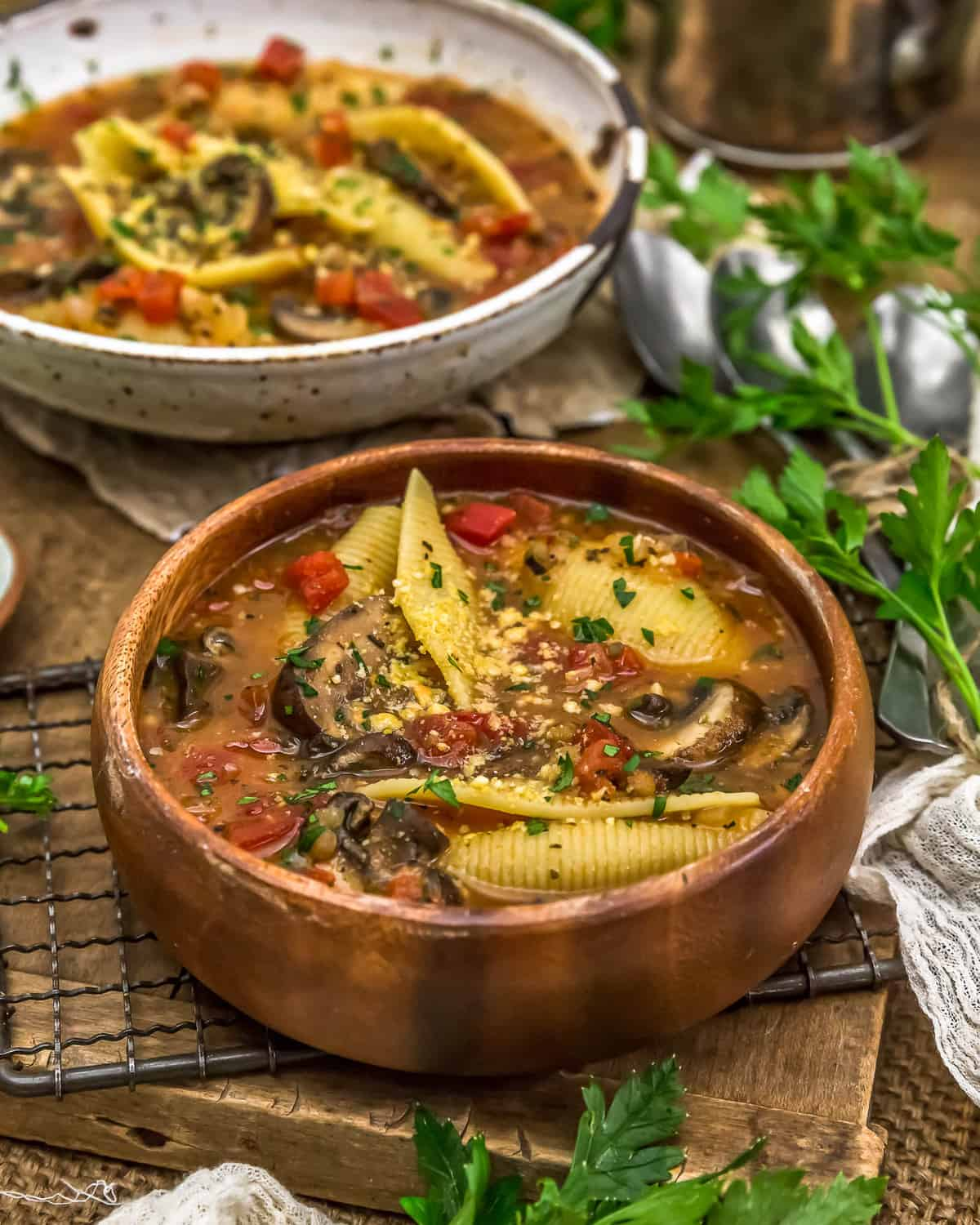 Bowl of Vegan Stuffed Shells Soup