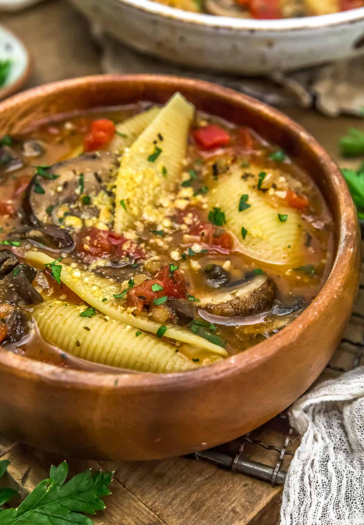 Vegan Stuffed Shells Soup in a bowl