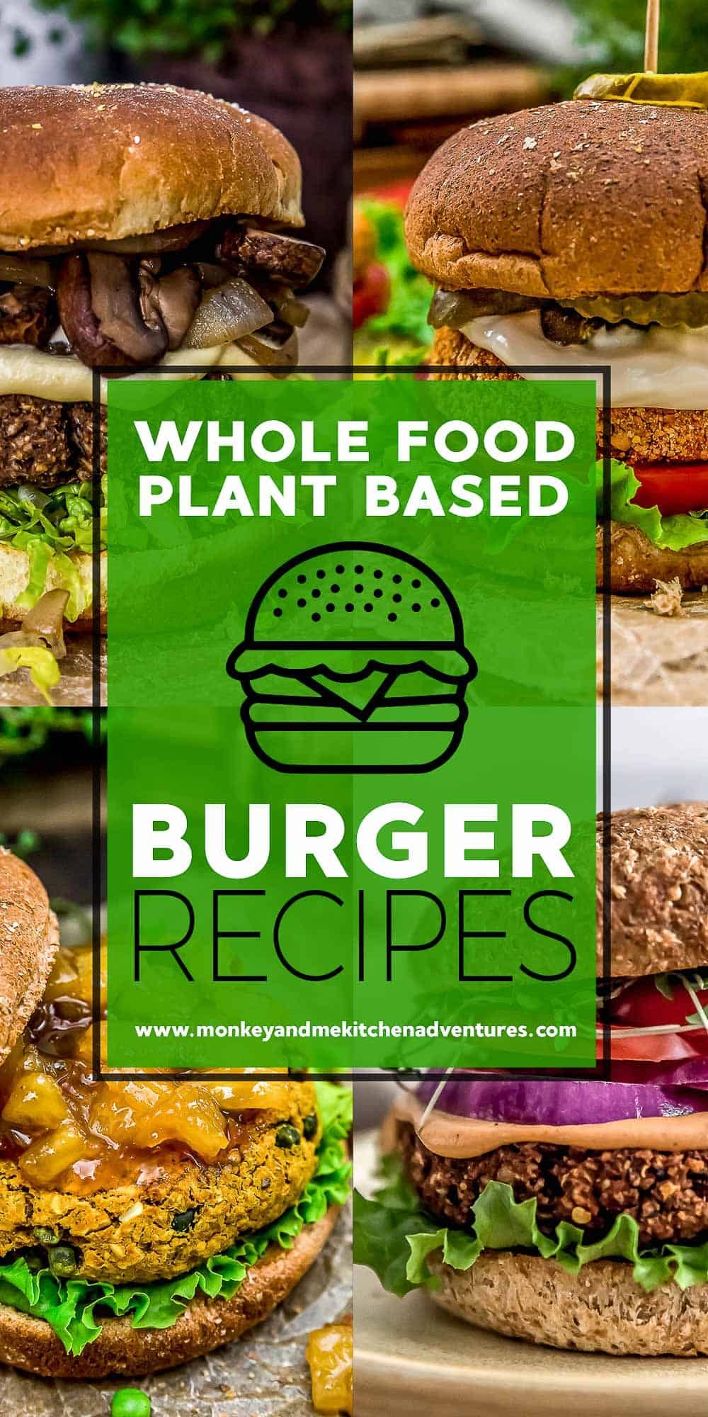 Whole Food Plant Based Burgers with Text Description