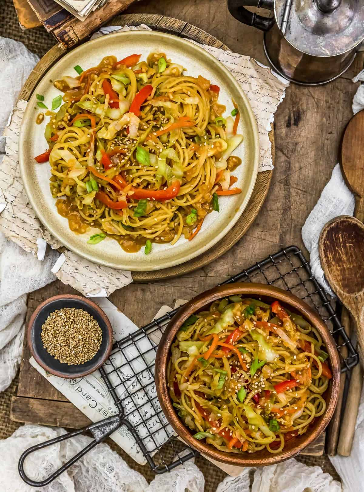 Tablescape of Asian Cabbage Noodle Stir Fry