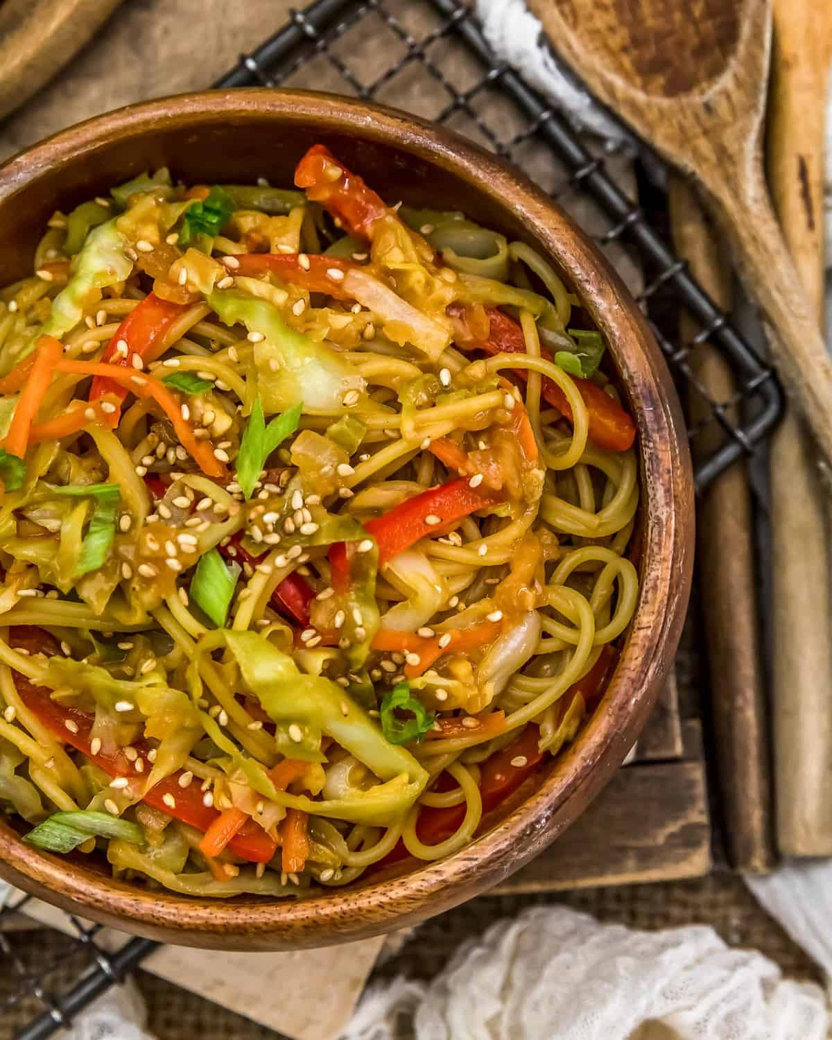 Close up of Asian Cabbage Noodle Stir Fry