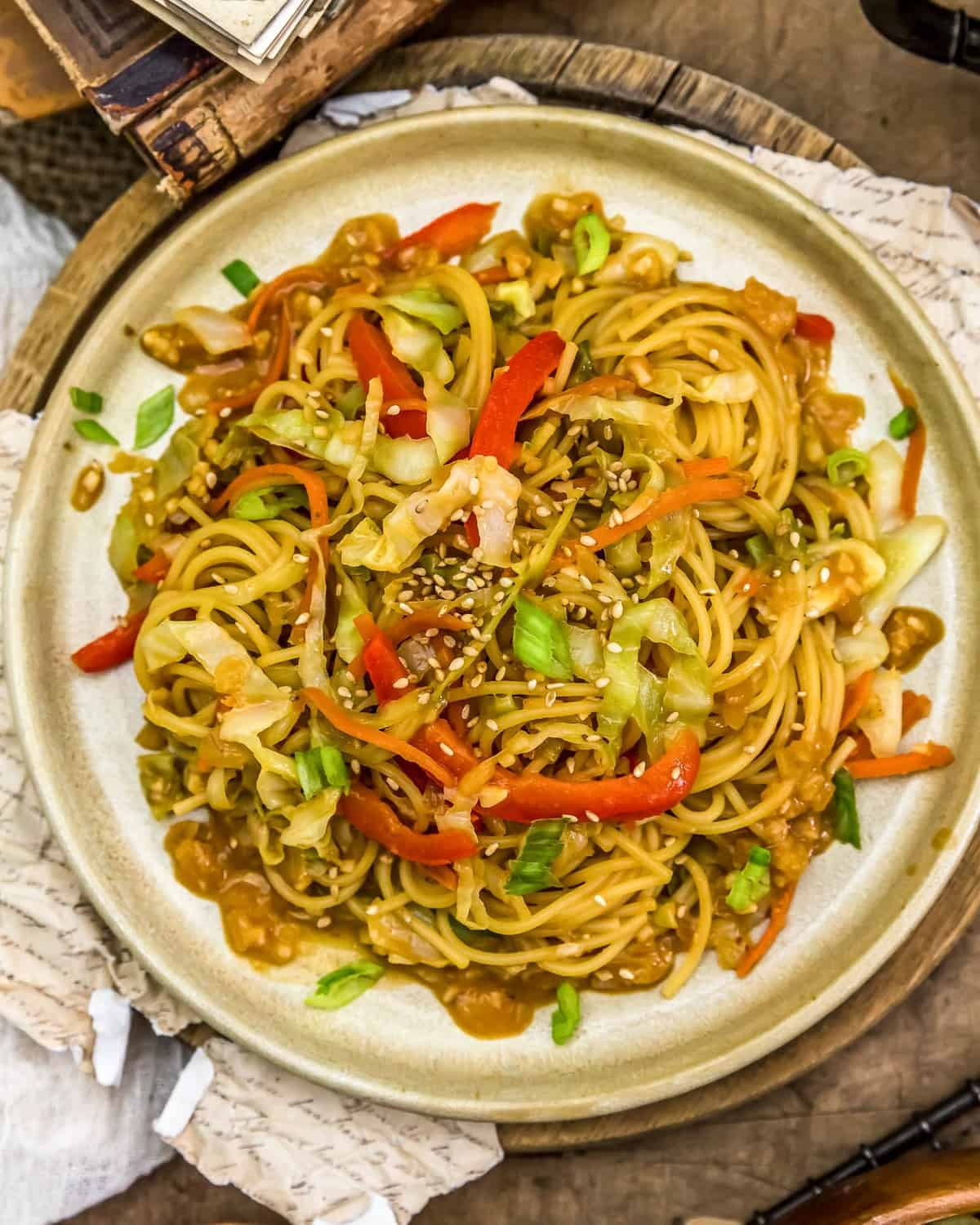 Plated Asian Cabbage Noodle Stir Fry