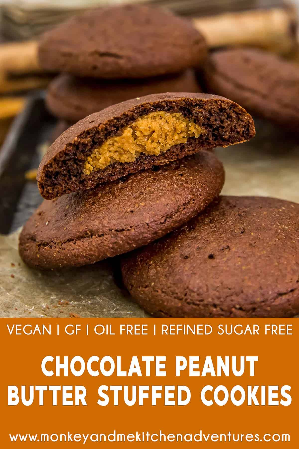 Chocolate Peanut Butter Stuffed Cookies with text description