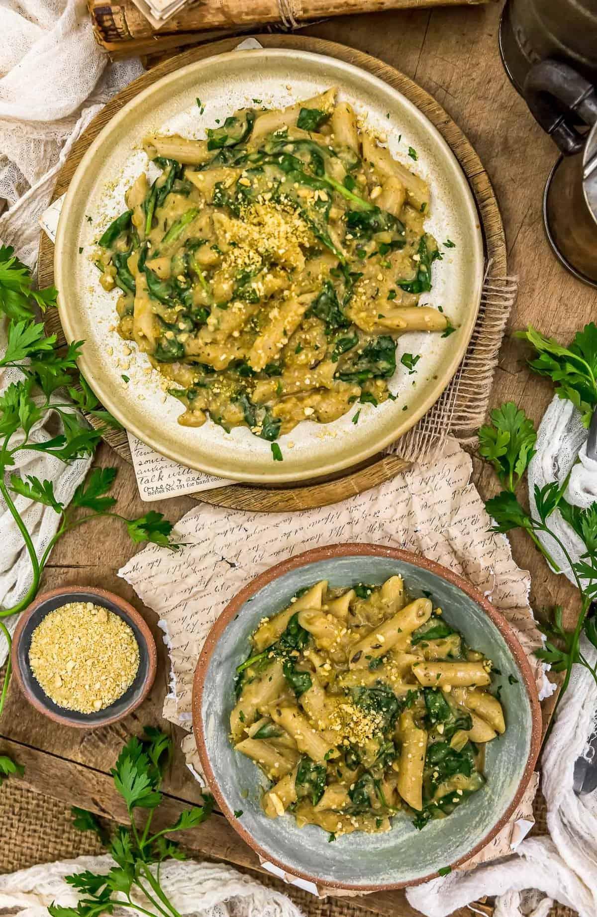 Tablescape of Vegan Creamy Spinach Pasta