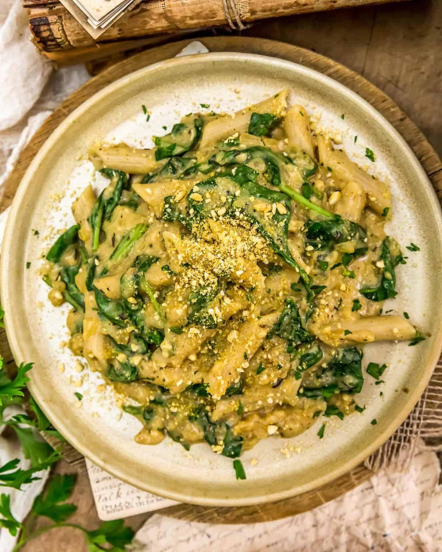 Served Vegan Creamy Spinach Pasta