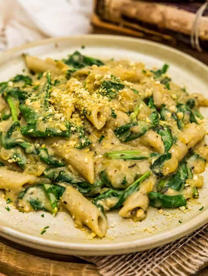 Plated Vegan Creamy Spinach Pasta