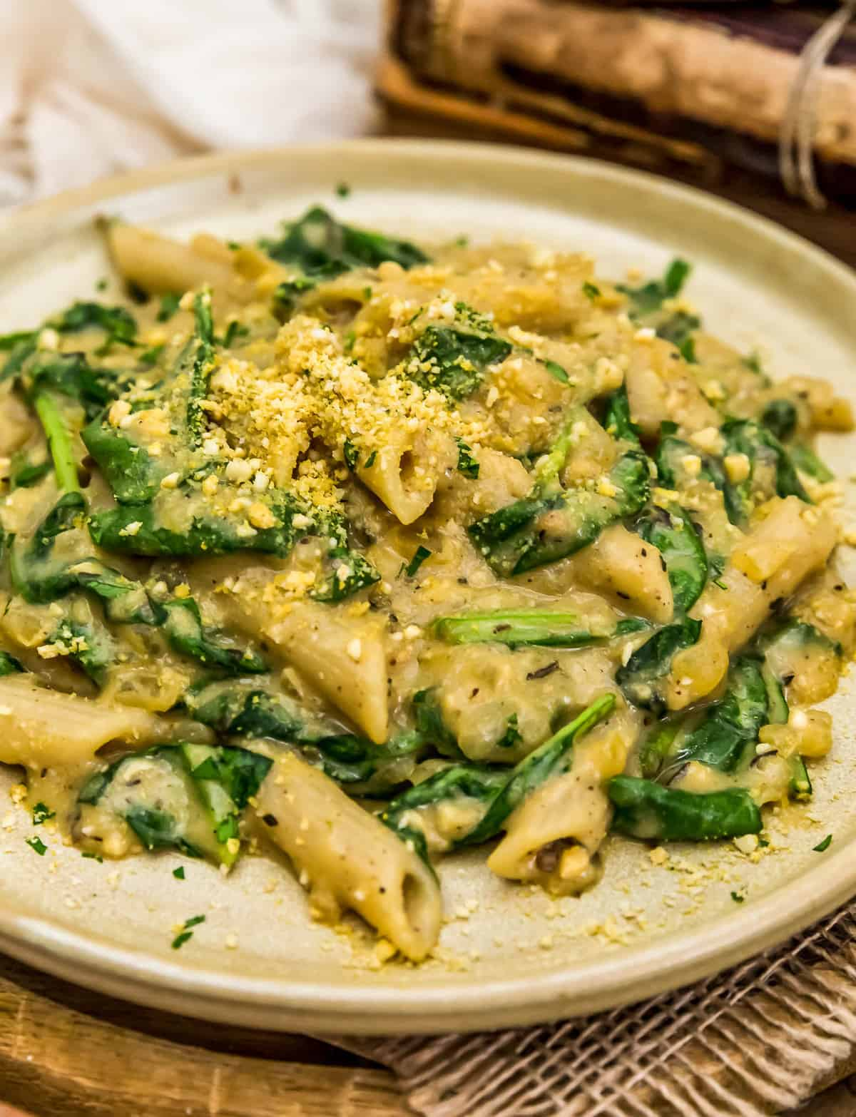 Plated Vegan Creamy Spinach Pasta