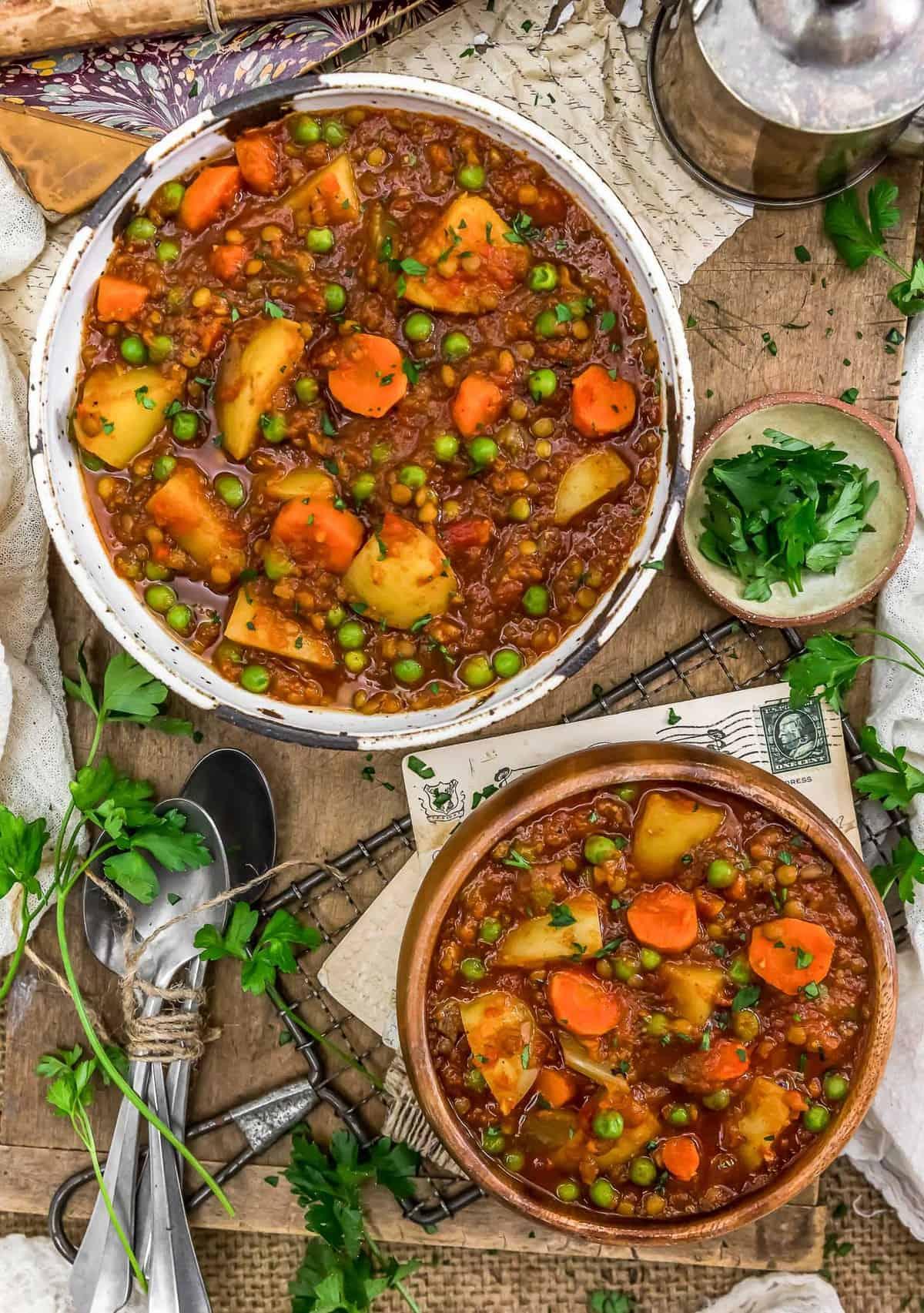 Tablescape of Hungarian Lentil Vegetable Stew