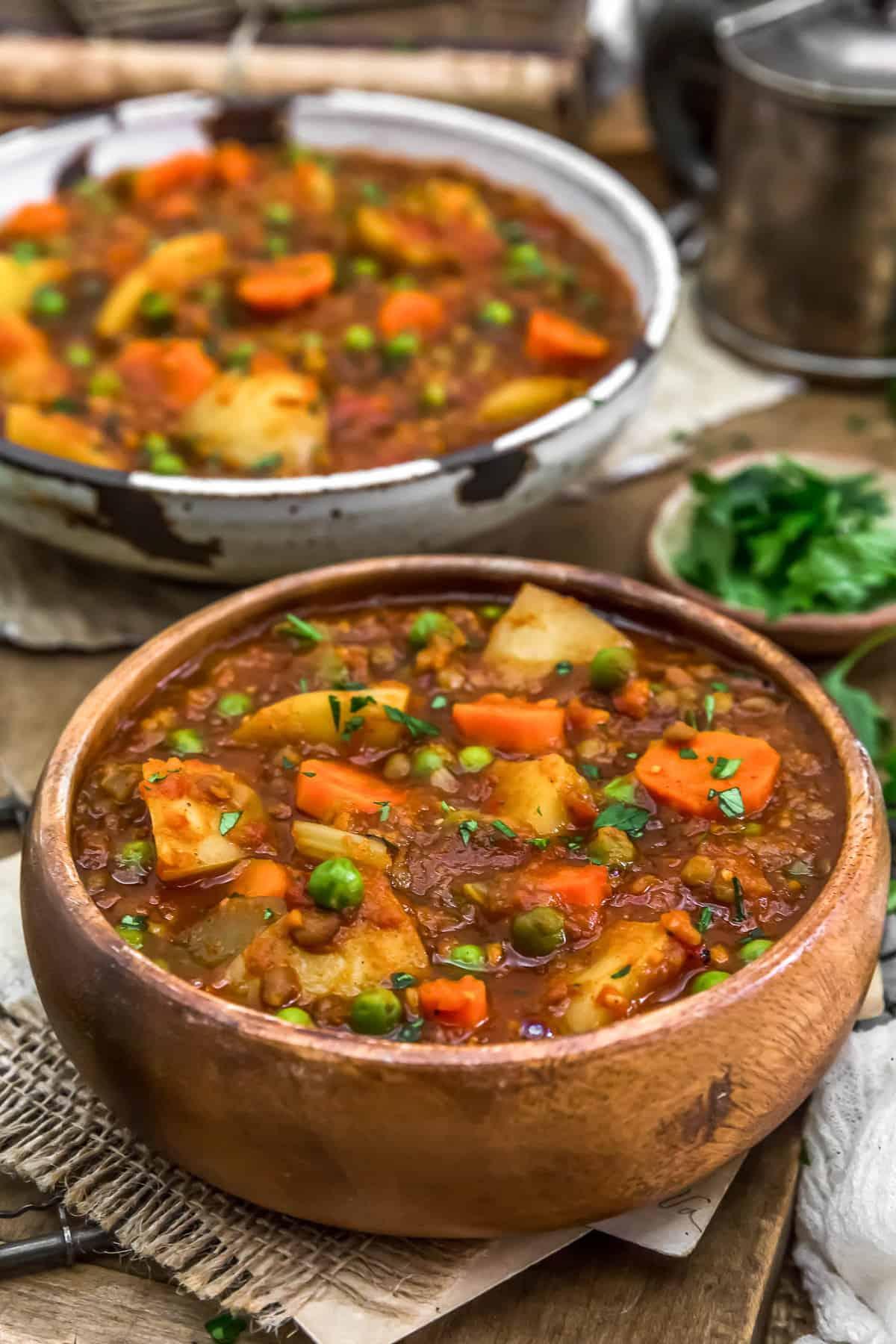 Bowls of Hungarian Lentil Vegetable Stew