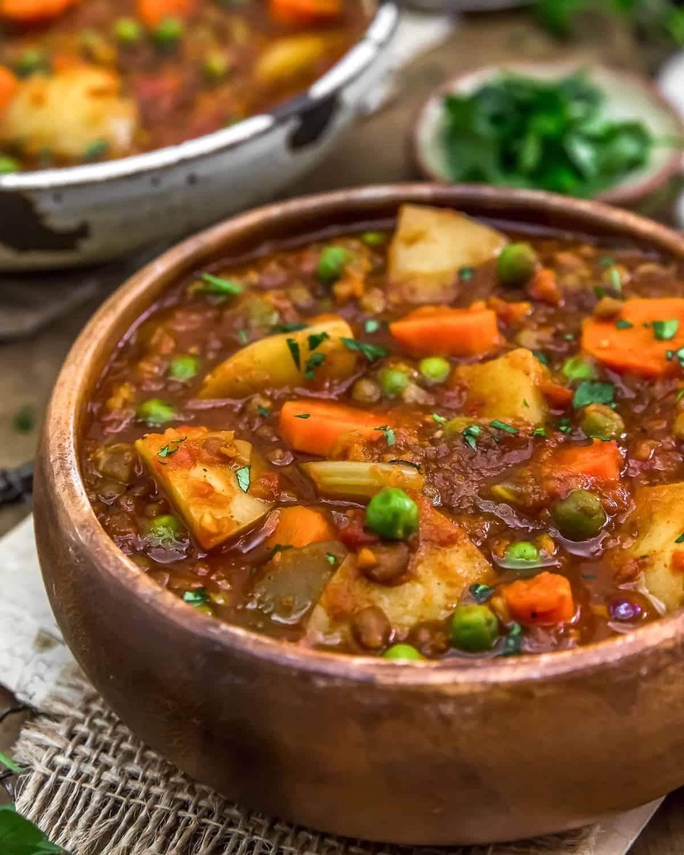 Served Hungarian Lentil Vegetable Stew