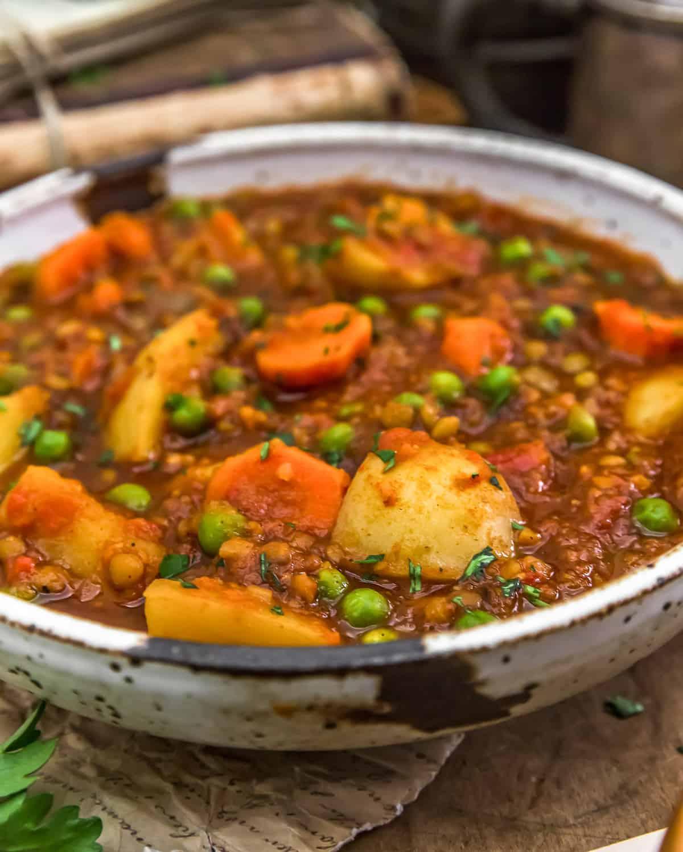 Close up of Hungarian Lentil Vegetable Stew