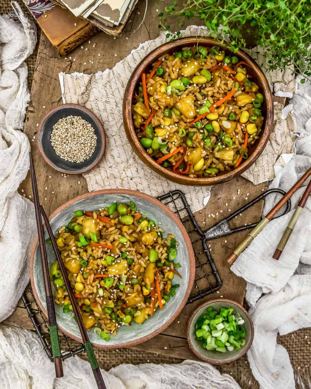 Tablescape of Pineapple Fried Rice