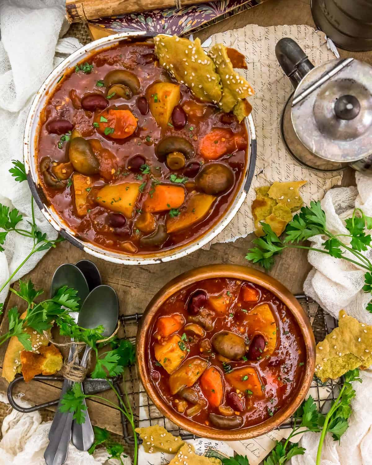 Tablescape of Rustic Braised Vegetable Stew