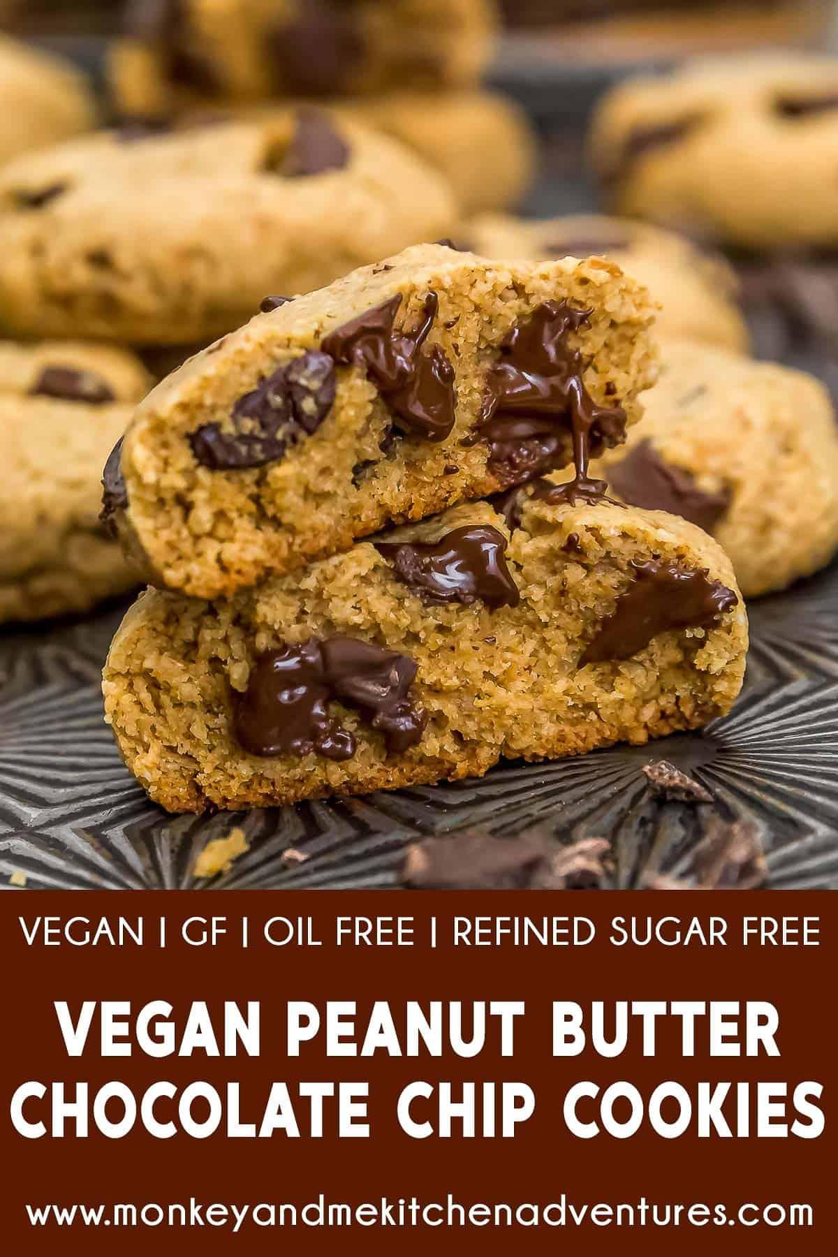 Vegan Peanut Butter Chocolate Chip Cookies with text description