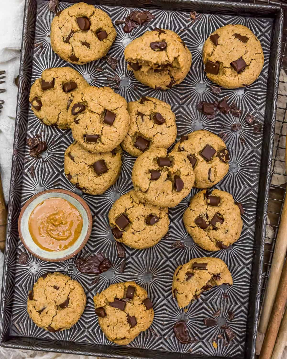 Tray of Vegan Peanut Butter Chocolate Chip Cookies