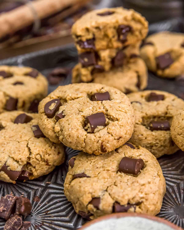 Pile of Vegan Peanut Butter Chocolate Chip Cookies