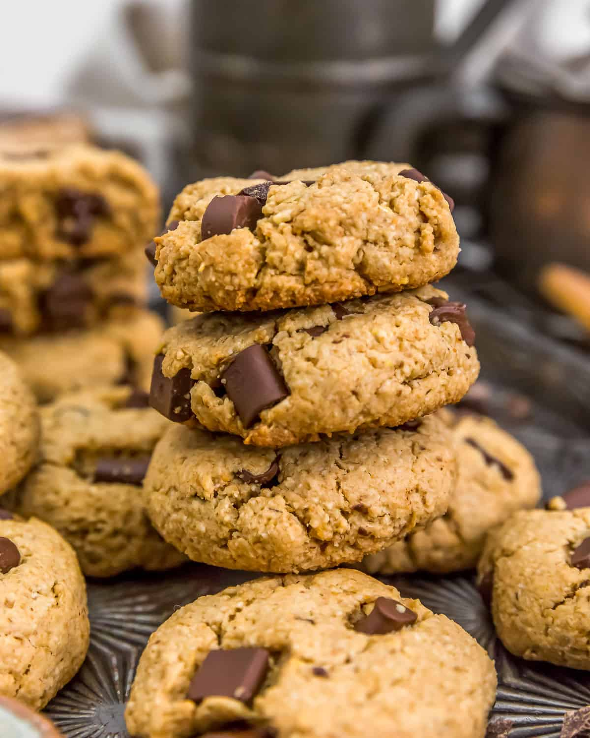 Stacked Vegan Peanut Butter Chocolate Chip Cookies