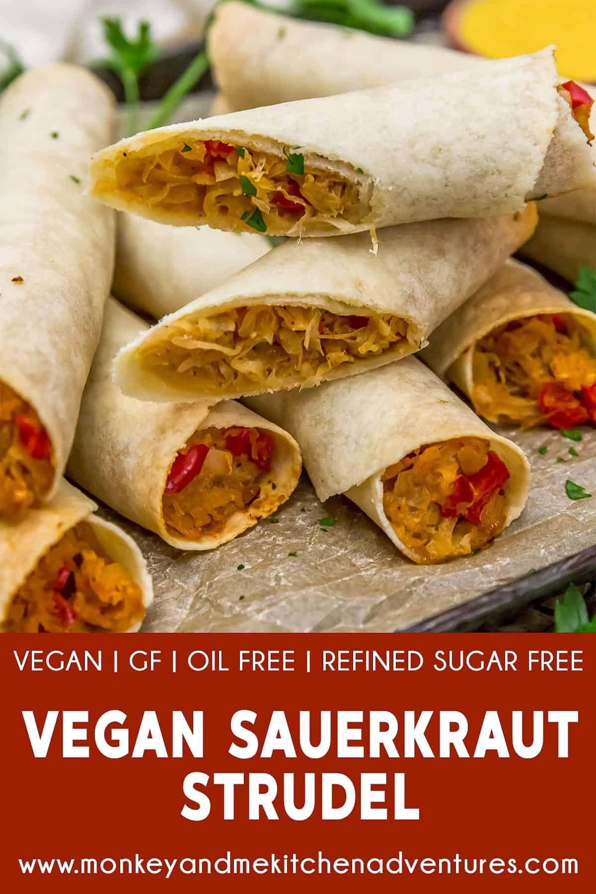 Vegan Sauerkraut Strudel (Krautstrudel) with text description