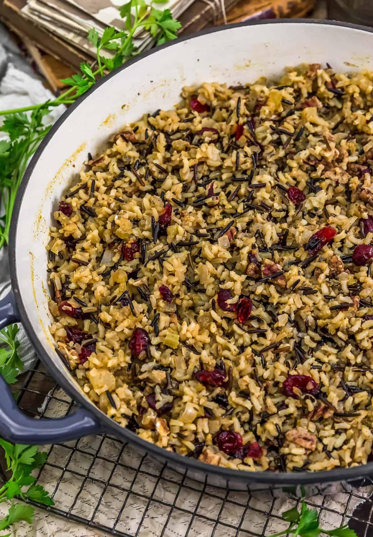 Skillet of Vegan Wild Rice Stuffing