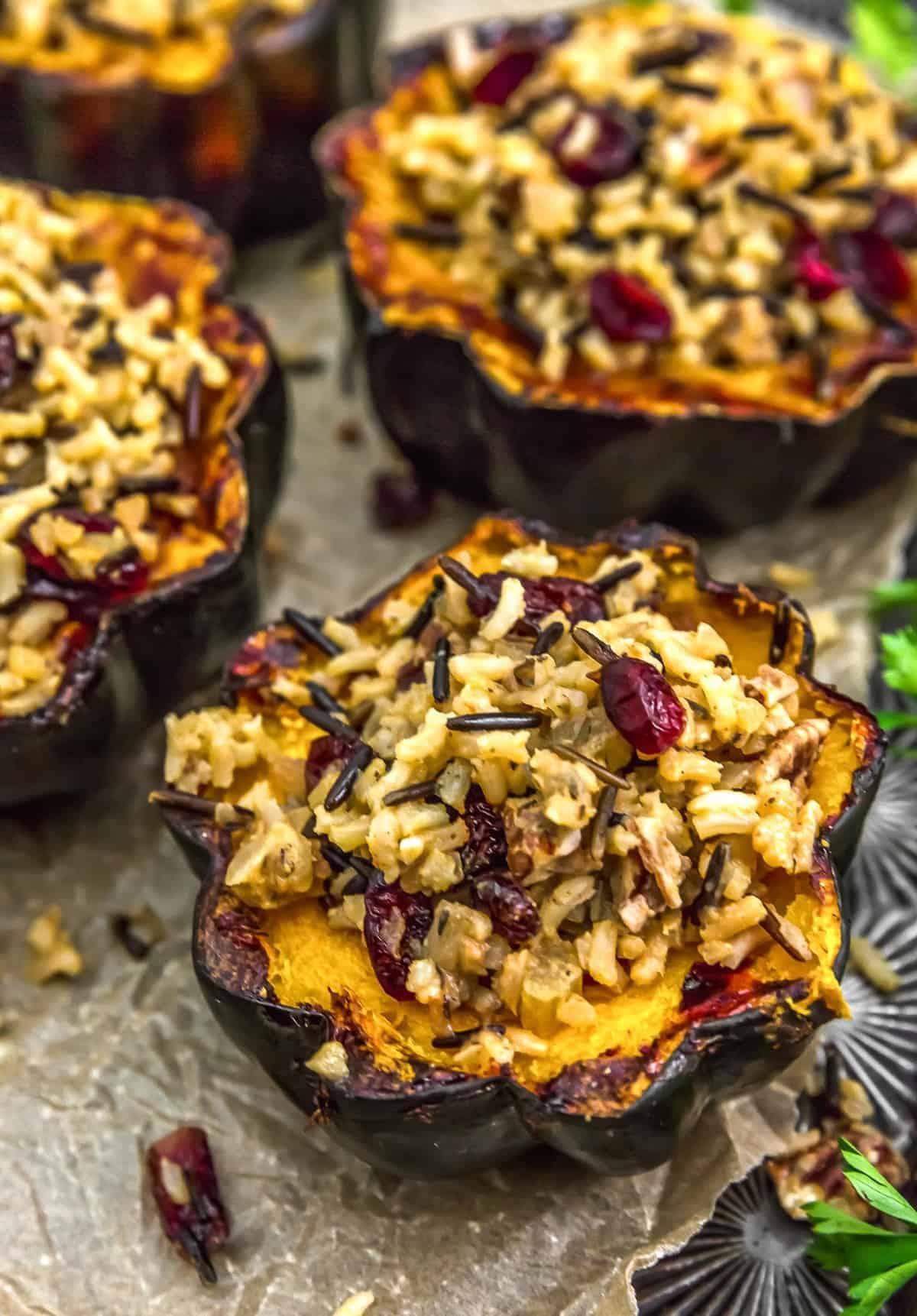 Vegan Wild Rice Stuffing in acorn squash