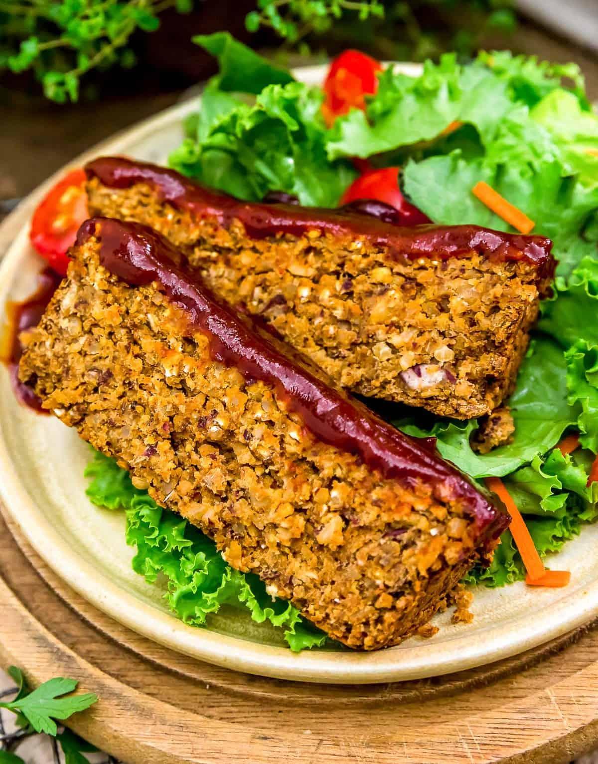 Close up of BBQ Veggie Loaf
