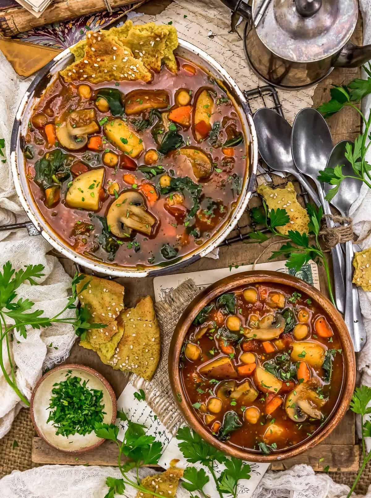 Tablescape of Chickpea Mushroom Shawarma Soup