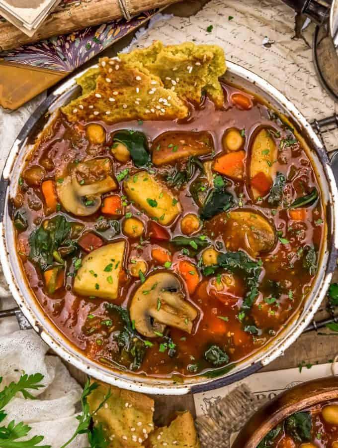 Chickpea Mushroom Shawarma Soup